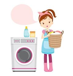 Girl with washing machine vector