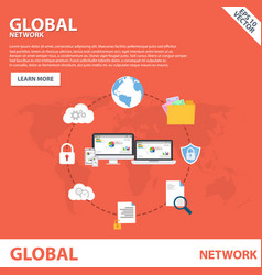Global network flat icon banner concept template d vector