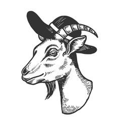 Goat in broad brim hat engraving vector