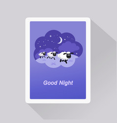 good night card with sheep in a dream bubble vector image
