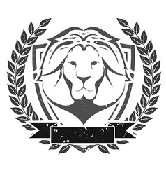 Grunge lion head emblem vector
