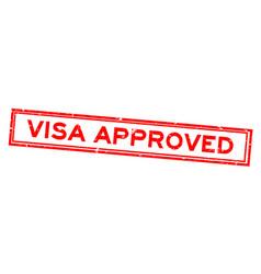 Grunge red visa approved word rubber seal stamp vector