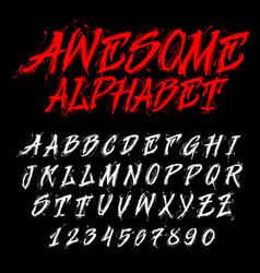 hand drawn alphabet dirty font vector image