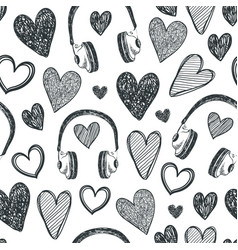 hand drawn seamless pattern hearts retro vector image