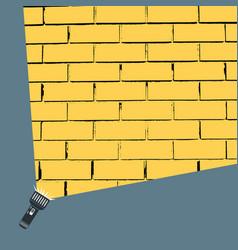 hand flashlight light beam on brick wall vector image