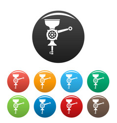 hand meat grinder icons set color vector image