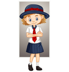 Happy girl in school uniform vector
