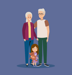 Happy granparents together with grandaughter vector