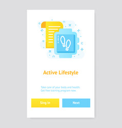 healthy lifestyle banner concept with fitness vector image
