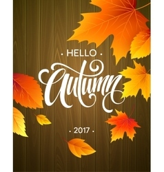 Hello Autumn The trend calligraphy Background vector
