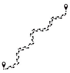 human footprints track footsteps route walking vector image