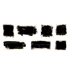 ink brush blots golden frames black grunge vector image