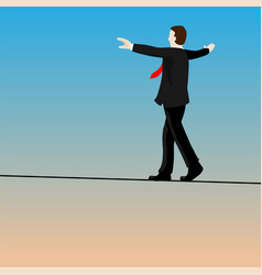 Isolated businessmen walking tightrope vector