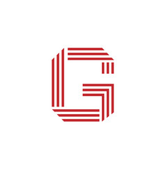 letter g with geometric three strips logo vector image