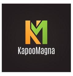 Letter k and m logo on black background vector