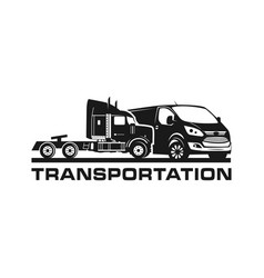 logo design container trucks and vans vector image
