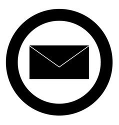 Mail the black color icon in circle or round vector
