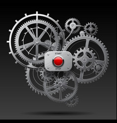 Metallic gear wheels of clockwork with start and vector