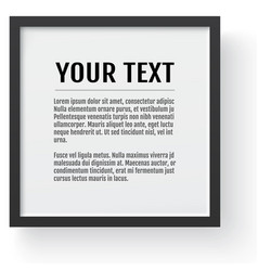 modern black frame mockup place for text photo vector image