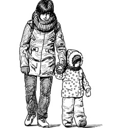 Mother and child for a walk vector