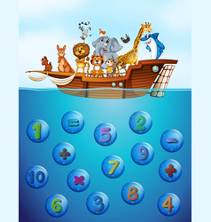 Numbers underwater and animals on the ship vector