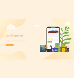 online car shopping e-commerce technology with vector image