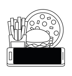 online food order and delivery black and white vector image