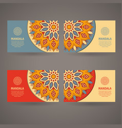 ornamental colorful template for business card vector image