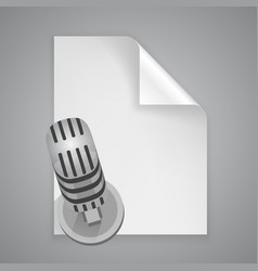 Paper symbol microphone vector