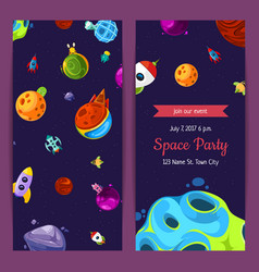 Party invitation with space elements vector