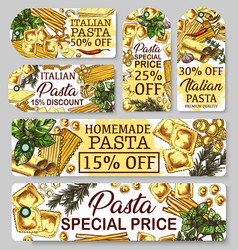 Pasta of italy sketch banners vector