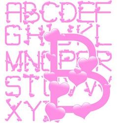 Pink hearts alphabet vector