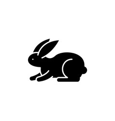 rabbit black icon sign on isolated vector image