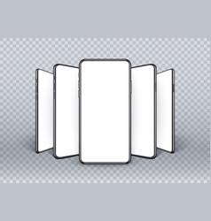 realistic smartphone mockup 3d mobile phone set vector image