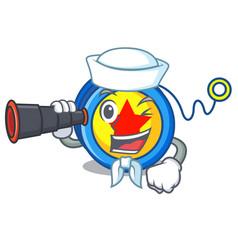Sailor with binocular yoyo mascot cartoon style vector
