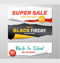 Sale banners realistic torn papers for black vector