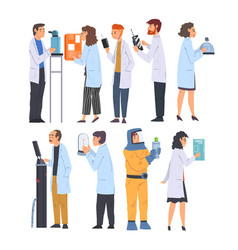 scientists in lab set men and women in white vector image