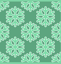 seamless art pattern with snowflakes on blue green vector image