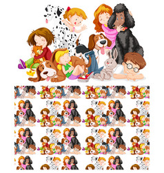 Seamless background design with kids and pets vector