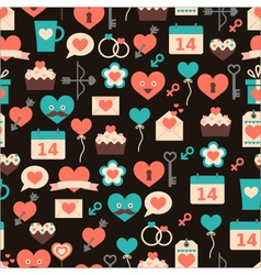 Seamless pattern for Valentine day on dark backg vector
