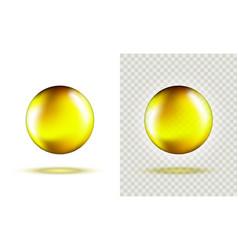 Set golden glass ball template liquid gel oil vector