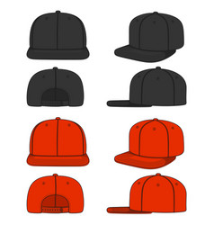 set images a rapper cap with a flat visor vector image