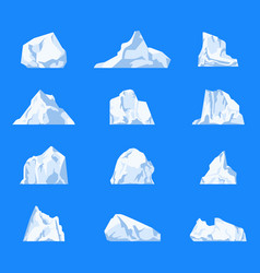 set of isolated iceberg or glacier crystal vector image