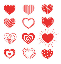 set of red hearts collection of stylized hearts vector image