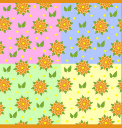Set of seamless patterns of orange flowers with vector