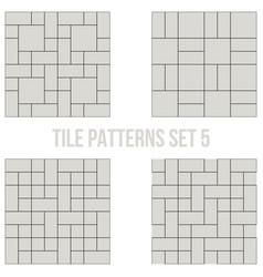 Set of thin line seamless pattern brick tile vector