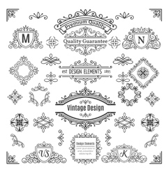 Set of vintage line elements vector