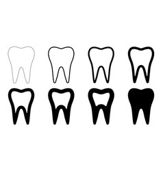 sign icon tooth shape set teeth with vector image