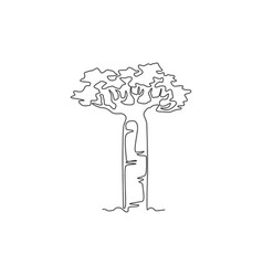 Single continuous line drawing giant baobab tree vector