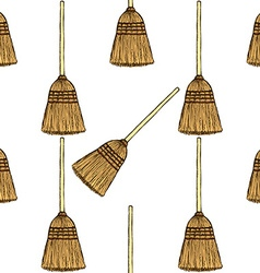 Sketch broom in vintage style vector image